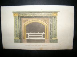 Ackermann 1816 Hand Col Decorative Print. Mona Marble Fireplace